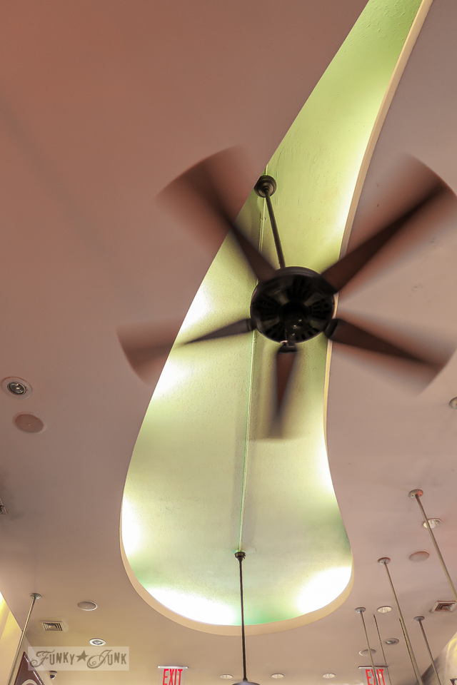 Cool ceiling and fan at Big Daddy's in New York City / funkyjunkinteriors.net