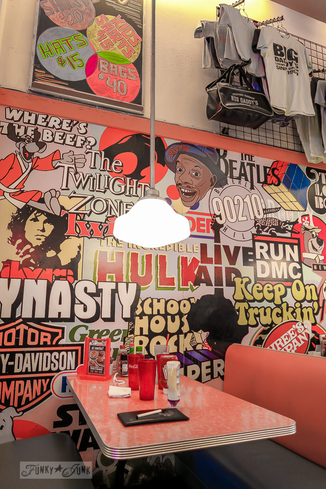 Painted retro wall mural at Big Daddy's in New York City / funkyjunkinteriors.net