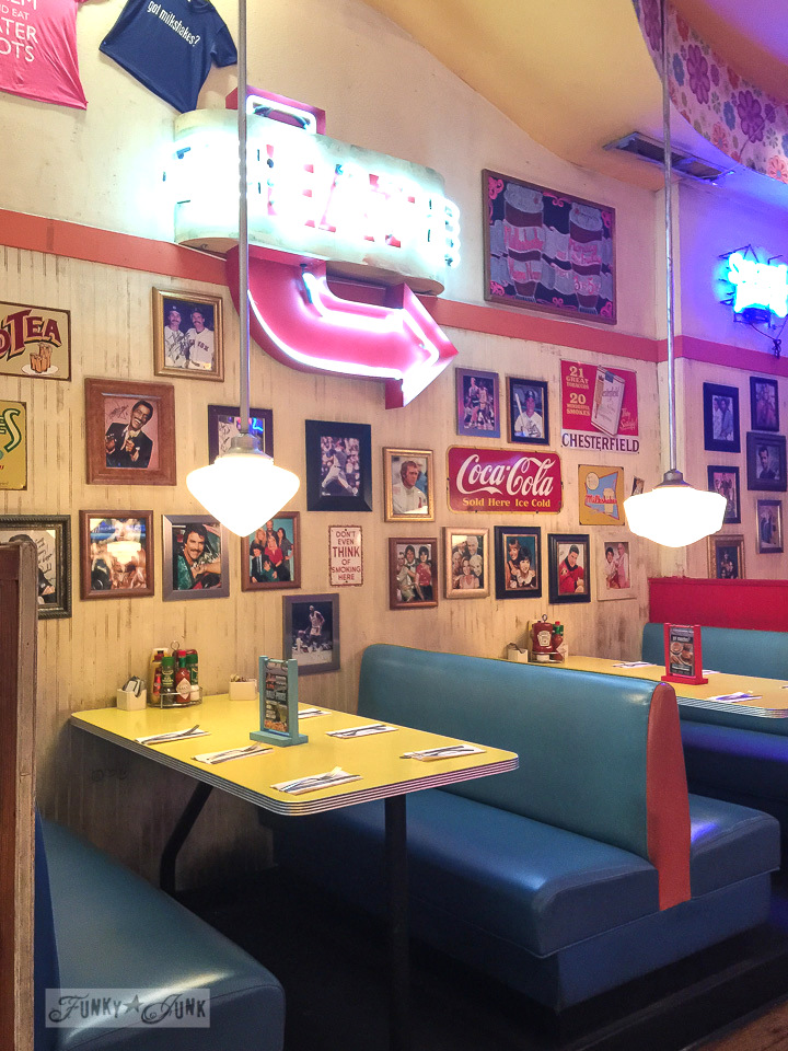 Vintage styled diner with neon signs and bright seats at Big Daddy's in New York City / funkyjunkinteriors.net