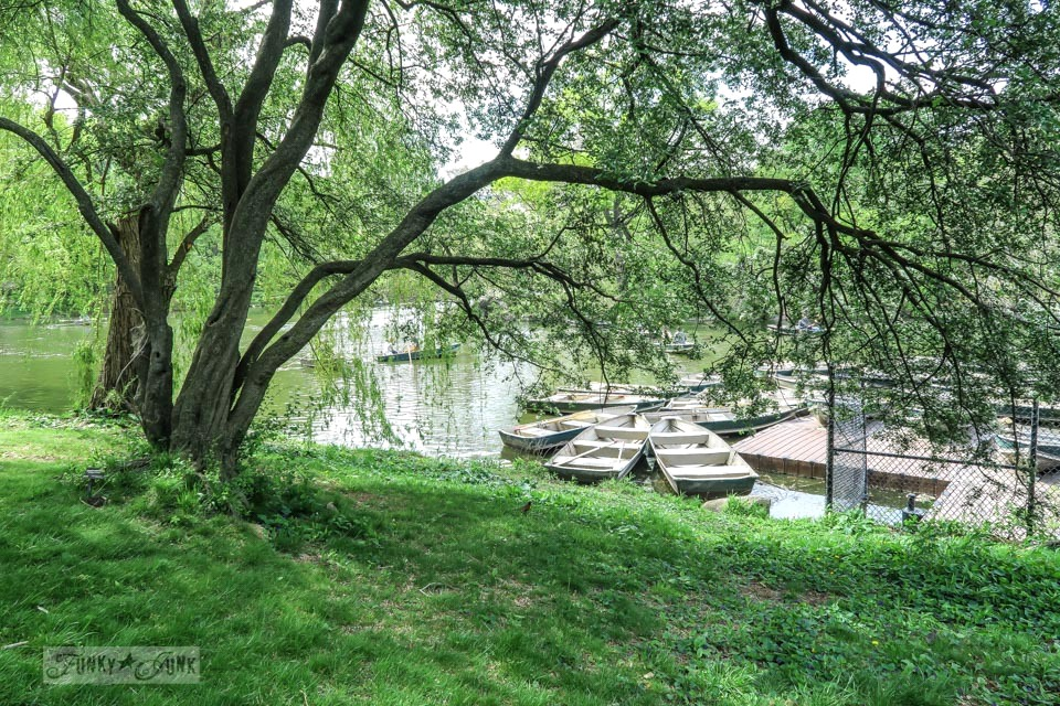 Boat dock under tall trees in Central Park, New York City / funkyjunkinteriors.net