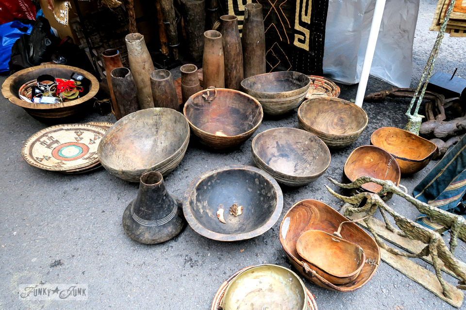 Rustic wooden bowls at the Chelsea Flea Market in New York City / funkyjunkinteriors.net