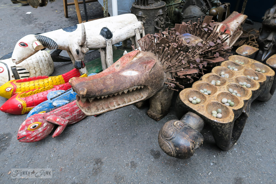 Rustic wooden animals at the Chelsea Flea Market in New York City / funkyjunkinteriors.net
