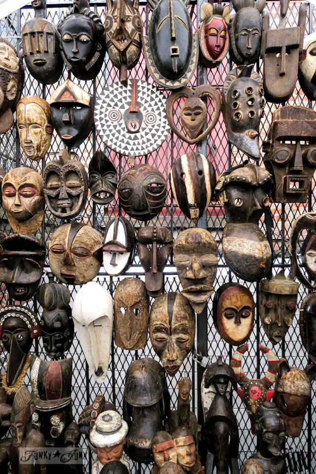 Rustic wooden masks at the Chelsea Flea Market in New York City / funkyjunkinteriors.net