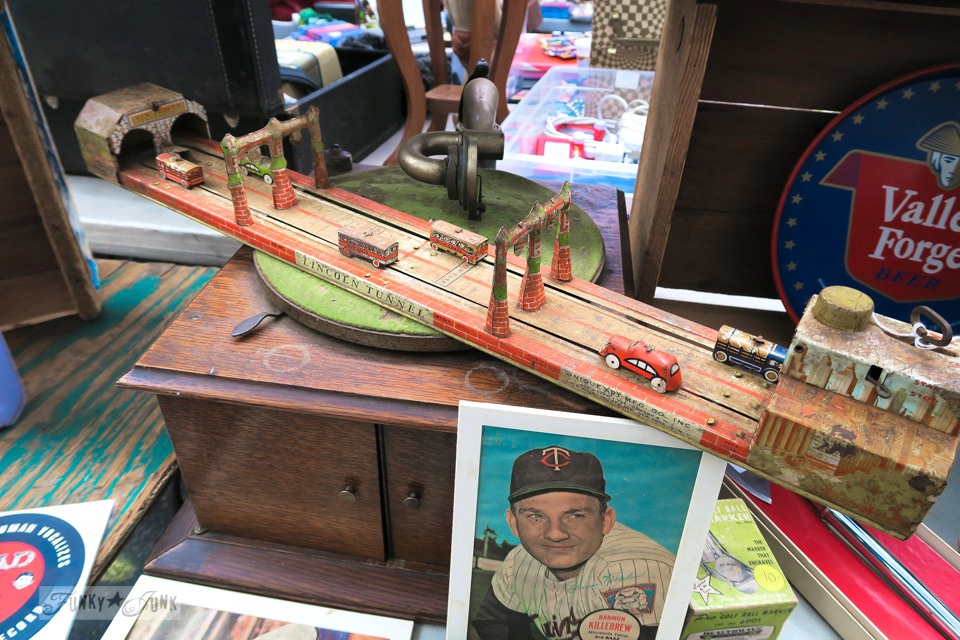 Antique toy car and road set at Chelsea Flea Market in New York City / funkyjunkinteriors.net