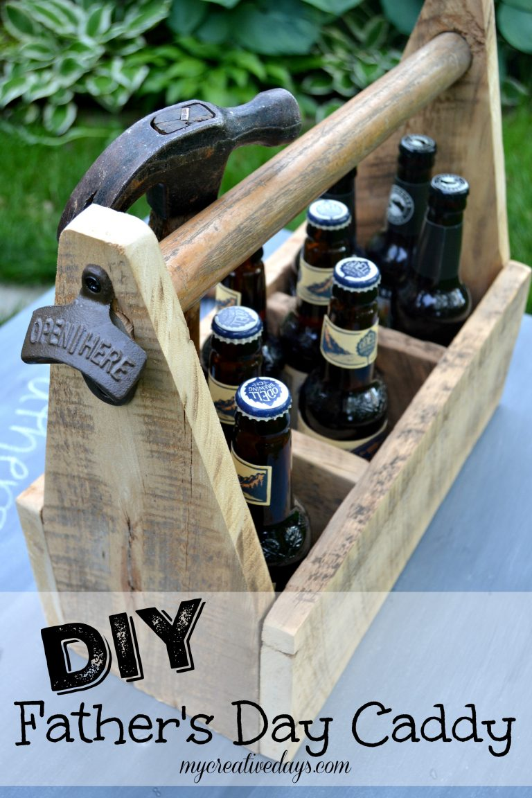 DIY toolbox styled beverage caddy for Father's Day, by My Creative Days, featured on Funky Junk Interiors