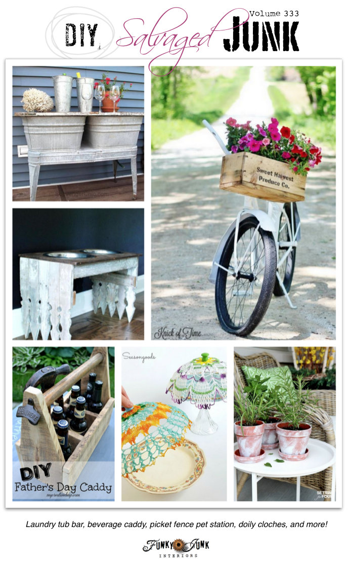 DIY Salvaged Junk - easy to make DIY projects with features, and a themed link party on funkyjunkinteriors.net