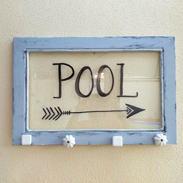 Ikea glass cabinet door pool sign, by Kreativ K, featured on Funky Junk Interiors