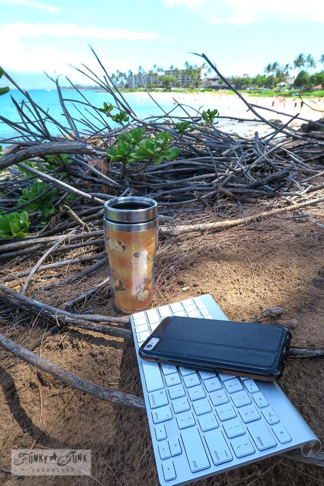 My tranquille Kamaole Beach desks - where I write in Maui | funkyjunkinteriors.net