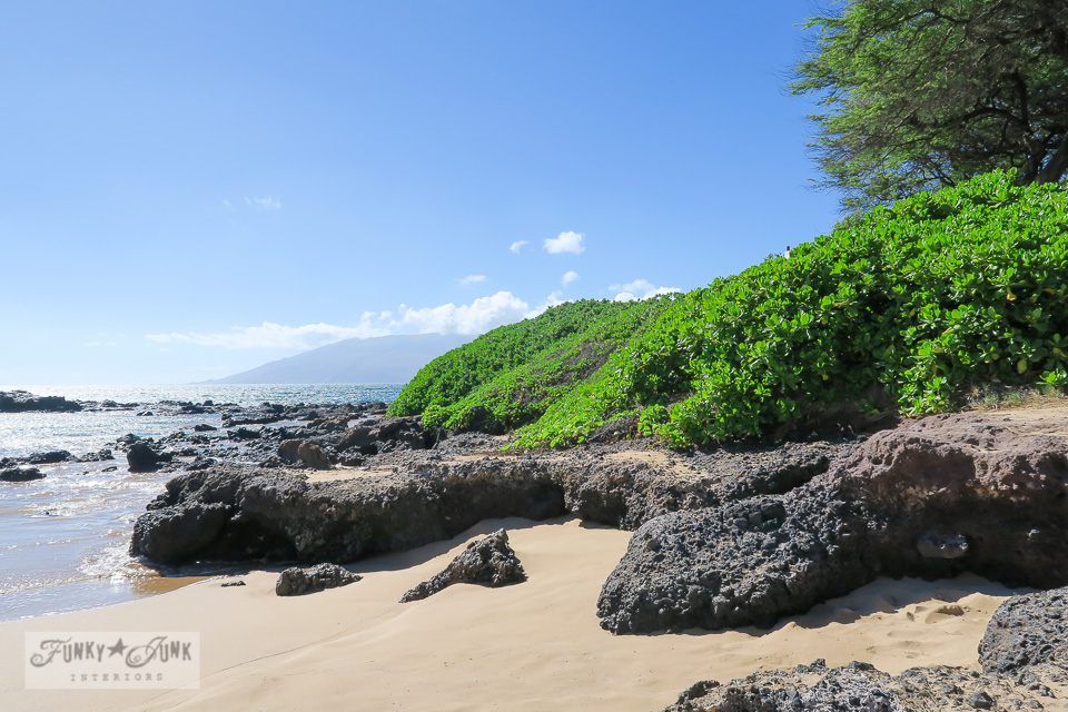 Gorgeous lava and plant edged Kamaole Beach 1 in Kihei, Maui | funkyjunkinteriors.net