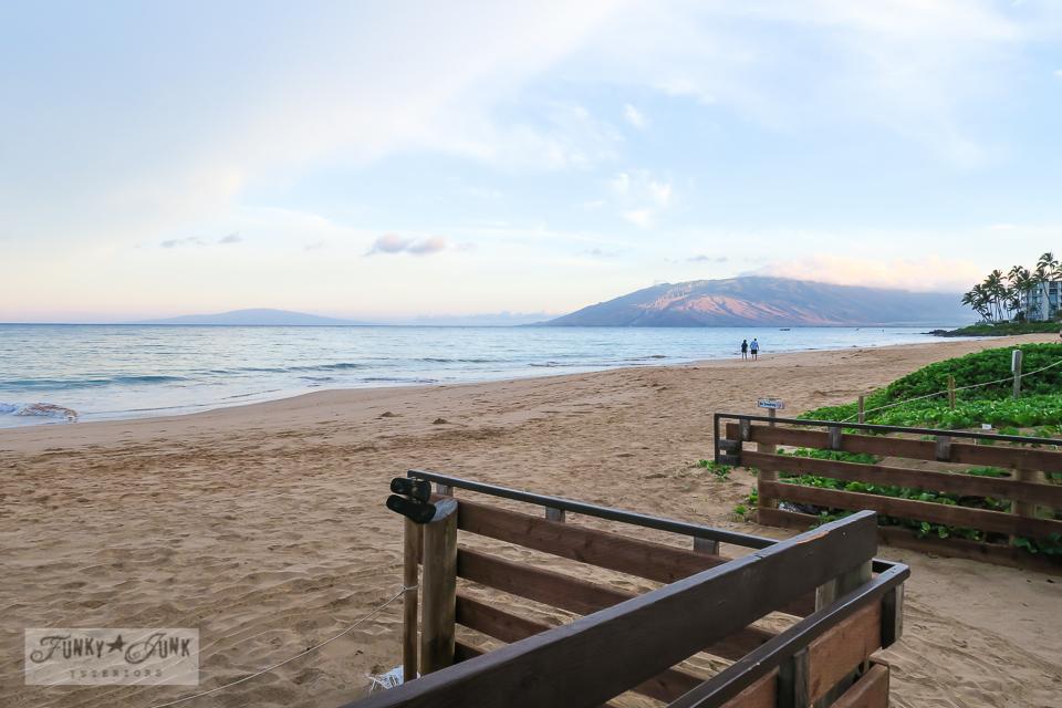 beach boardwalk on Kihei beach in Maui | funkyjunkinteriors.net