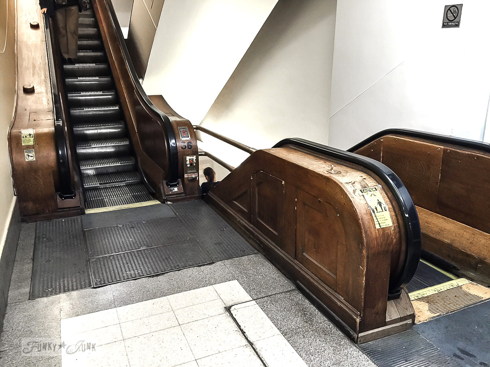 Macy's wooden escalator in New York City / funkyjunkinteriors.net