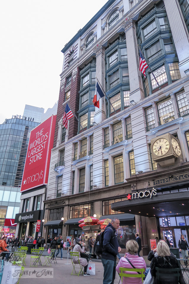 Sitting outside of Macy's in New York City / funkyjunkinteriors.net