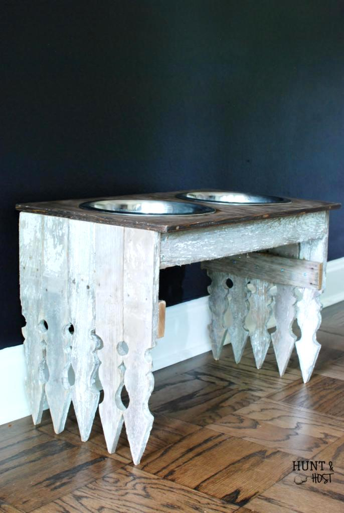 Picket fence dog bowl station, by Hunt & Host, featured on Funky Junk Interiors