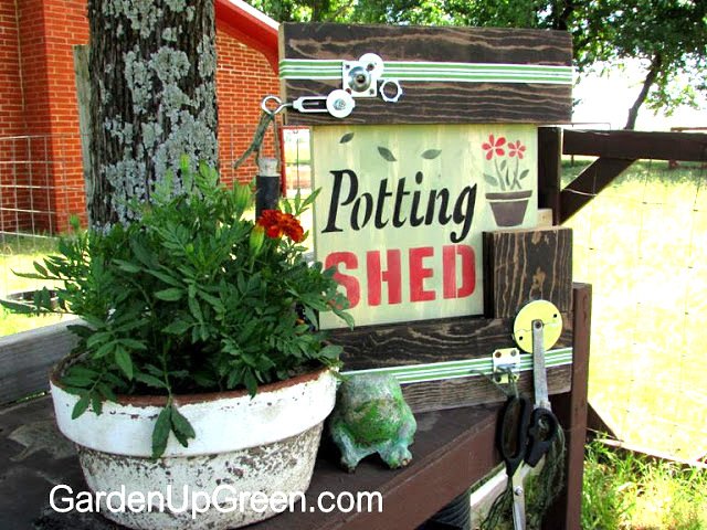 Junk styled potting shed garden sign, by Garden Up Green, featured on Funky Junk Interiors