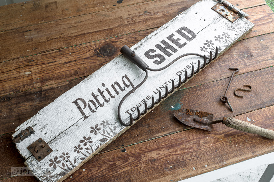 Rustic Shed Reveal With Potting Shed Garden Sign And Potting Bench