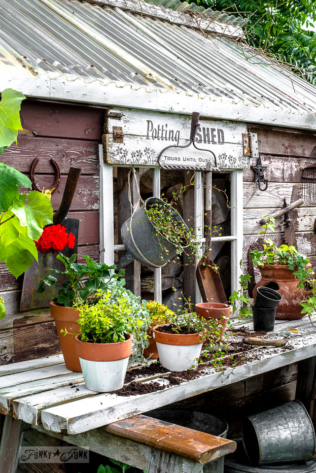 Rustic Shed Reveal With Sawhorse Potting Bench And Old