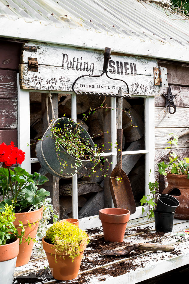 Potting shed sign on a rustic garden shed : made with Funky Junk's Old Sign Stencils