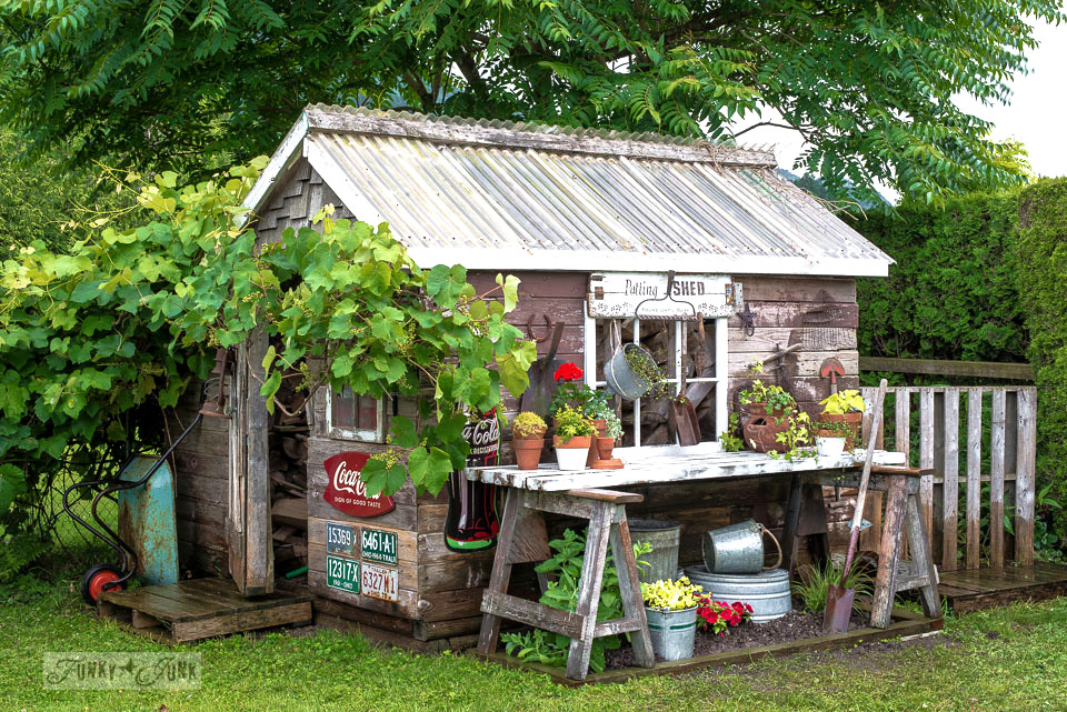 Rustic shed with sawhorse potting bench / flower garden, covered in old signs | funkyjunkinteriors.net