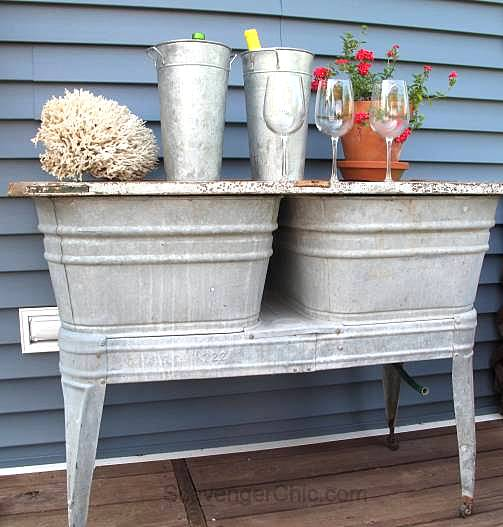 Upcycled vintage laundry tub outdoor bar by Scavenger Chic, featured on Funky Junk Interiors