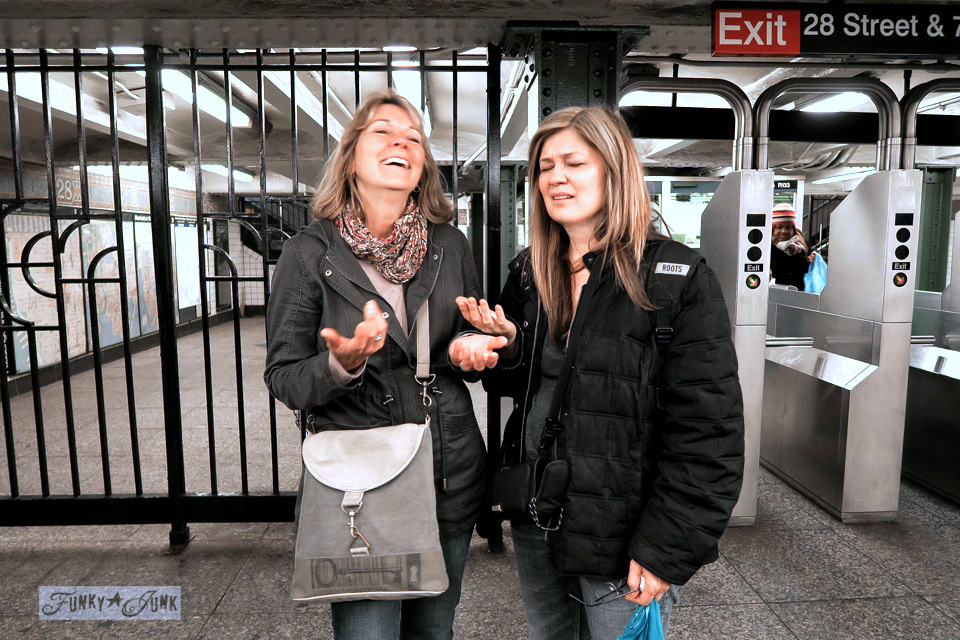 Susan Homeroad and Donna Funky Junk Interiors in a New York City Subway / funkyjunkinteriors.net
