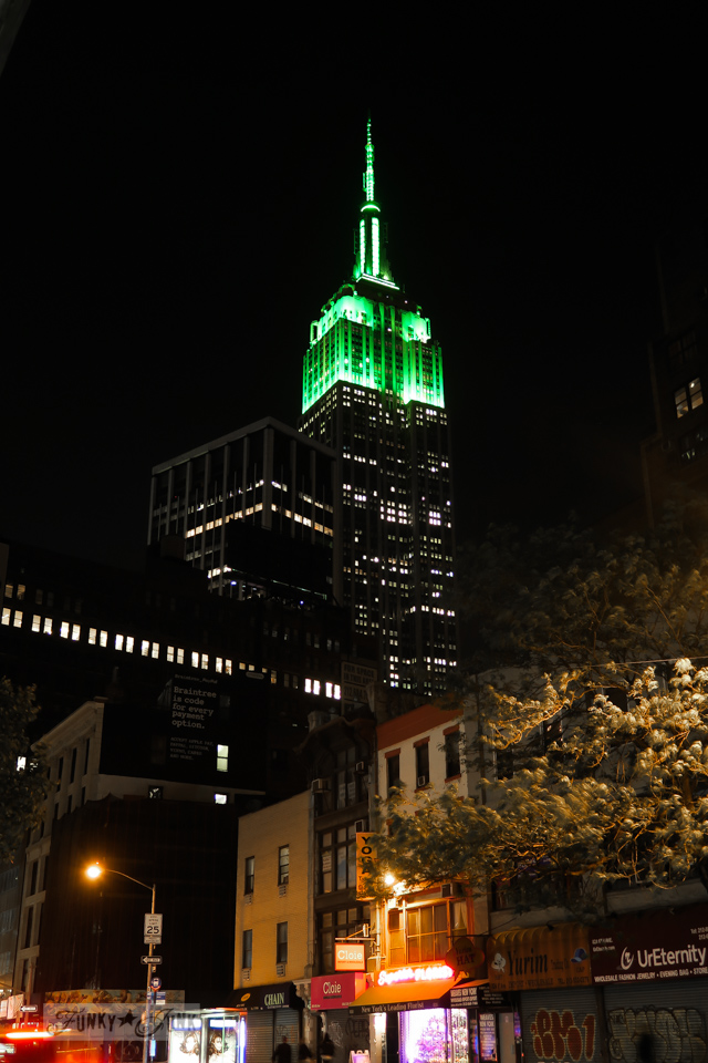 The Empire State Building illuminated at night | funkyjunkinteriors.net