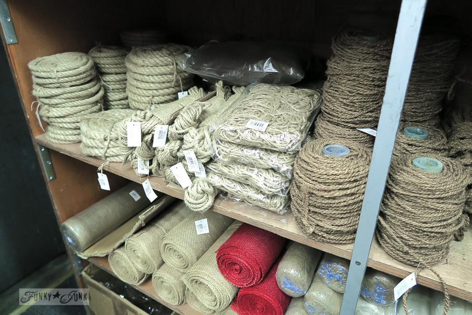 Burlap and twine supplies from The Flower District in Chelsea, New York City / funkyjunkinteriors.net