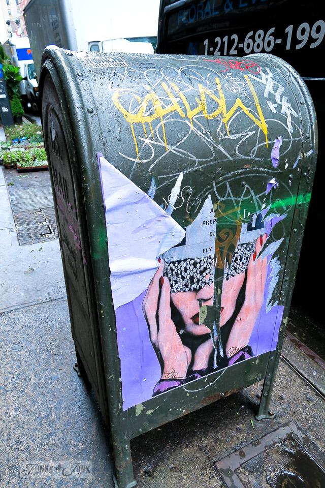 Mailbox painted in grafitti in Chelsea, New York City / funkyjunkinteriors.net