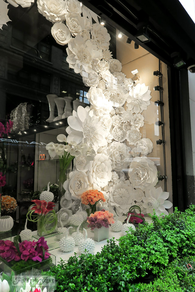 paper floral art in a shop window - The streets of the flower district in New York City / funkyjunkinteriors.net
