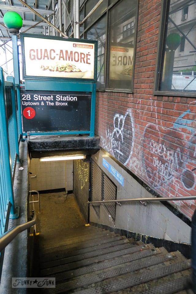 Subway station from street level, in Chelsea, New York City / funkyjunkinteriors.net