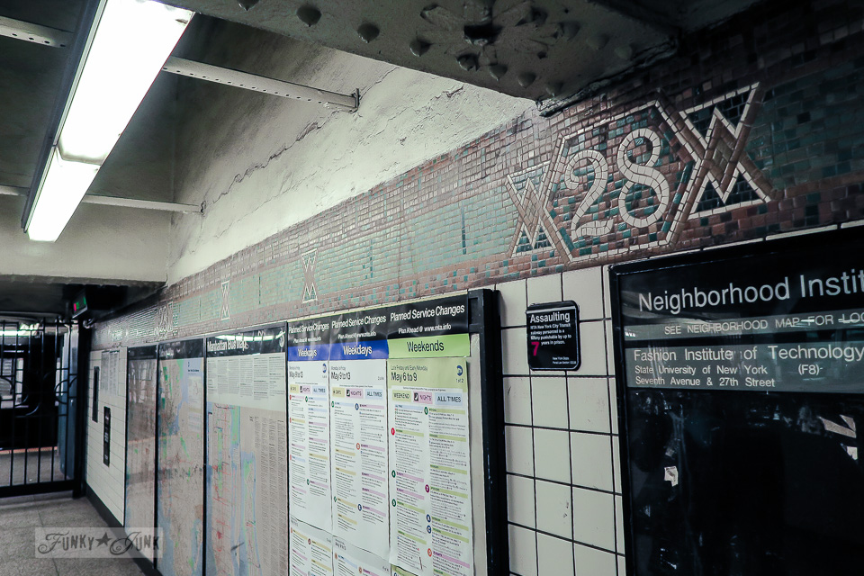 Subway station tiled station numbers on the walls, in Chelsea, New York City / funkyjunkinteriors.net