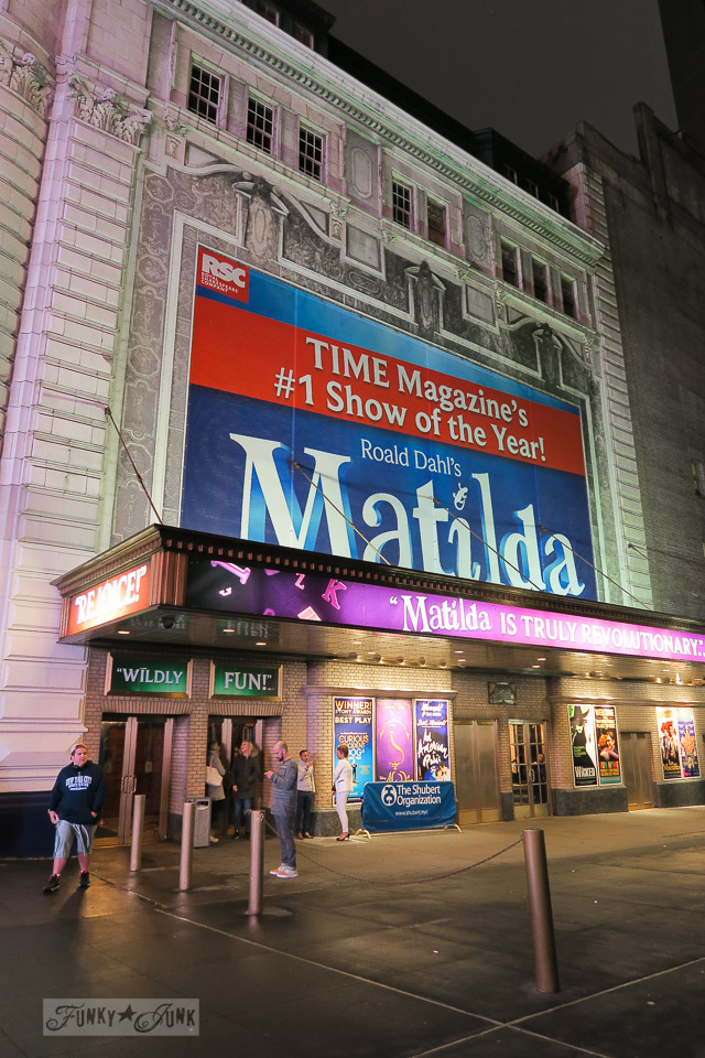 The outside signs and building of Matilda, playing at the Shubert Theatre, in New York City / funkyjunkinteriors.net