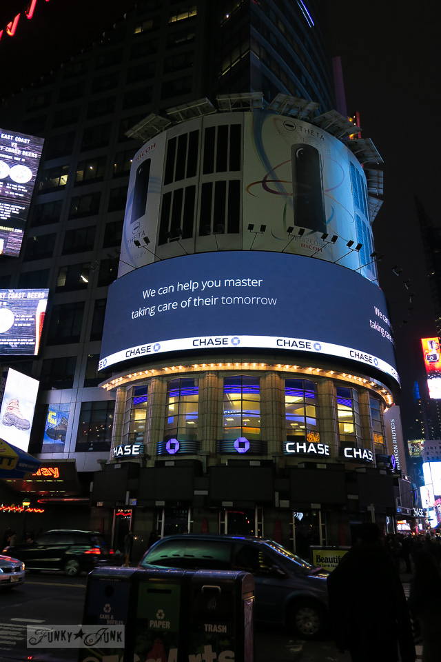 The massive billboards lit up at night at Times Square, in New York City / funkyjunkinteriors.net