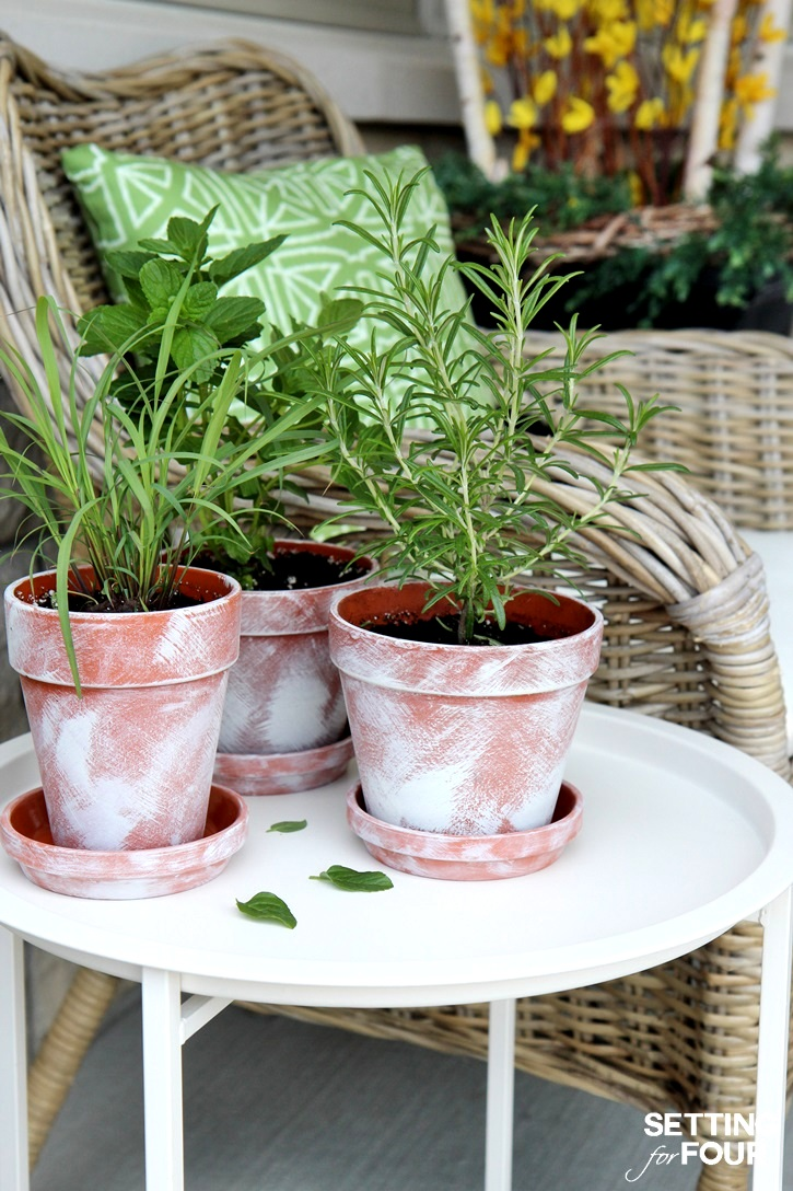 How to age terra cotta pots, by Setting for Four, featured on Funky Junk Interiors