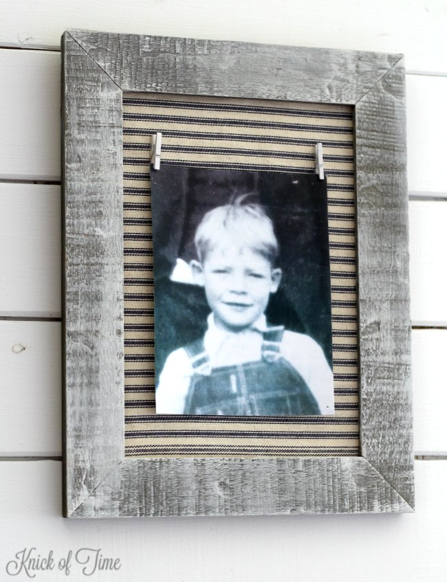 Farmhouse style ticking photo frame, by Knick of Time, featured on Funky Junk Interiors
