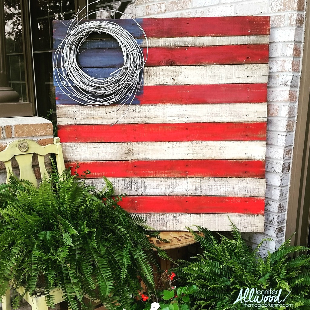 grapevine wreath and pallet patriotic flag, by Jennifer Allwood of The Magic Brush, featured on Funky Junk Interiors