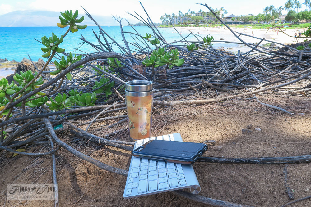 portable desk of keyboard, phone and kona coffee in maui | funkyjunkinteriors.net