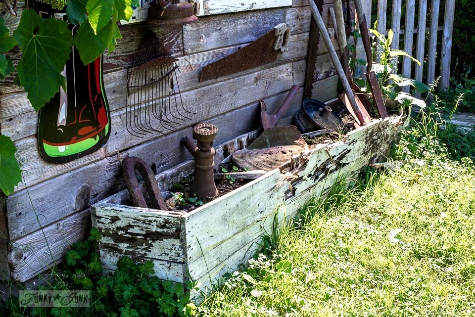 broken firetruck crate that held flowers - before