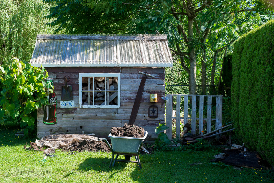 working on a rustic shed update