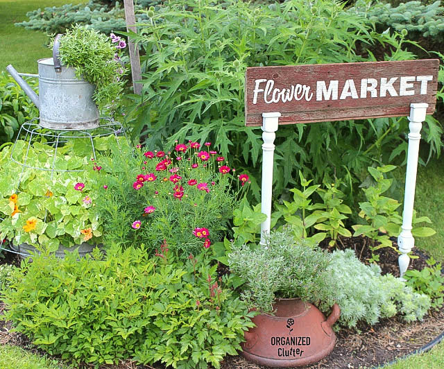 Spindle Flower Market sign, by Organized Clutter, featured on Funky Junk Interiors