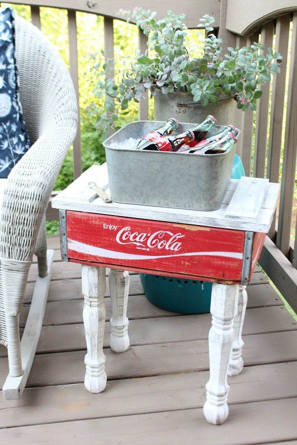 Coca Cola crate side table, by Refresh Restyle, featured on Funky Junk Interiors