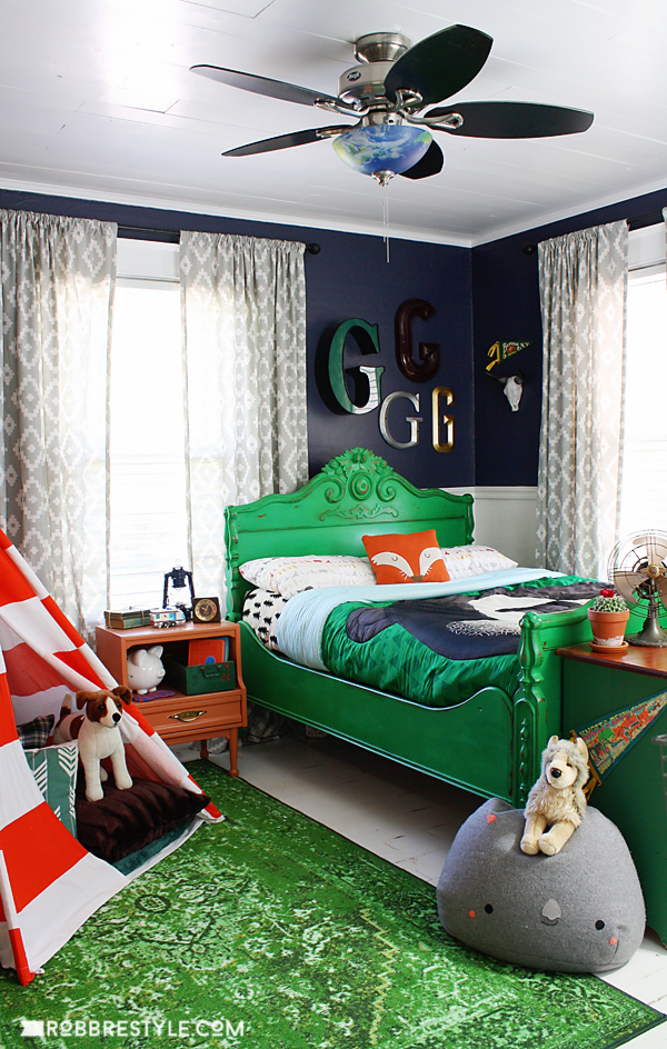 Vintage camping themed boy's bedroom, by Robb Restyle, featured on Funky Junk Interiors