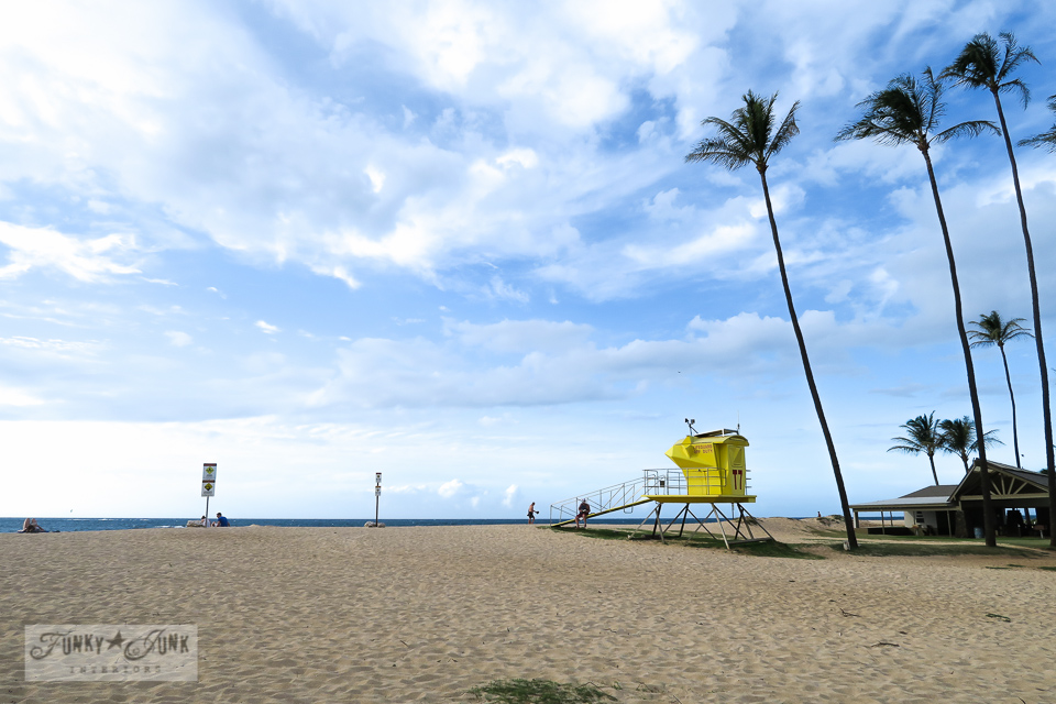 Baldwin Beach scene of lifeguard and palmtrees in Paia, Maui | funkyjunkinteriors.net