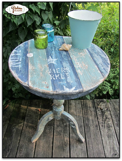 Faux coastal table effect, by Patina Paradise, featured on Funky Junk Interiors