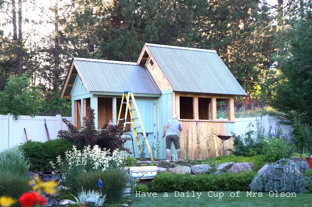 The building of a She Shed, by Have a Daily Cup of Mrs Olson, featured on Funky Junk Interiors