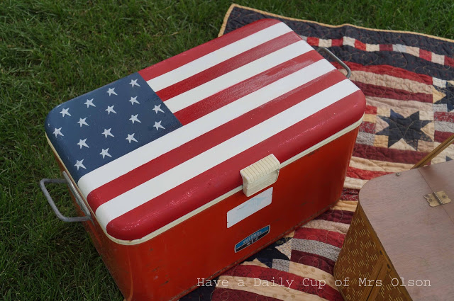 Painted patriotic American flag cooler, by Have a Daily Cup of Mrs Olson, featured on Funky Junk Interiors