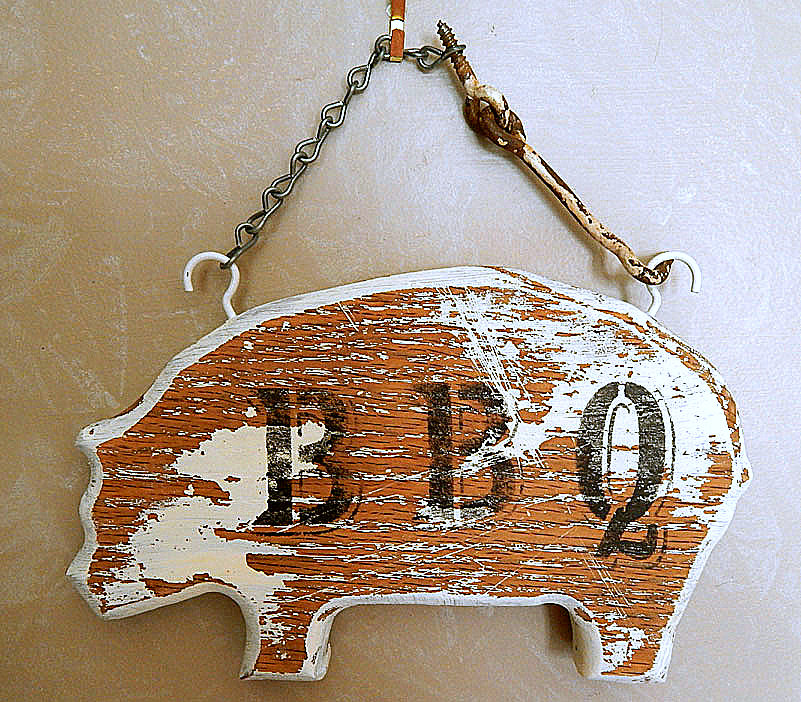 Pig cutting board BBQ sign, by Saturday's Vintage Finds, featured on Funky Junk Interiors