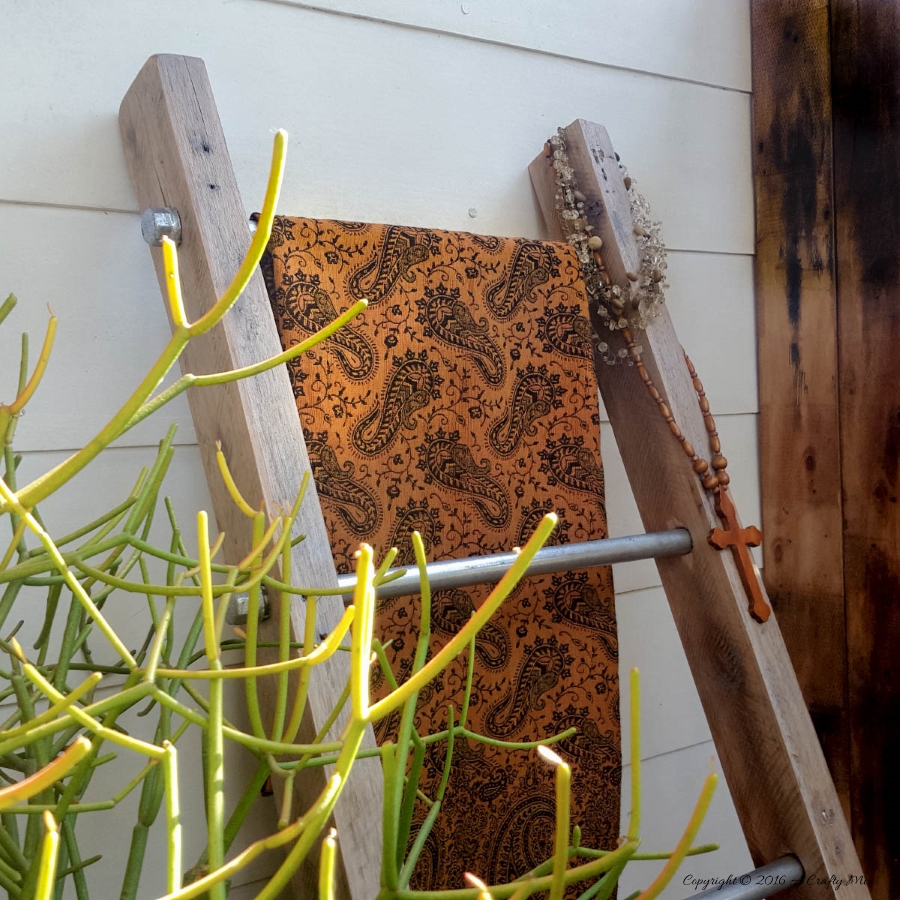 DIY industrial pipe fittings ladder, by A Crafty Mix, featured on Funky Junk Interiors