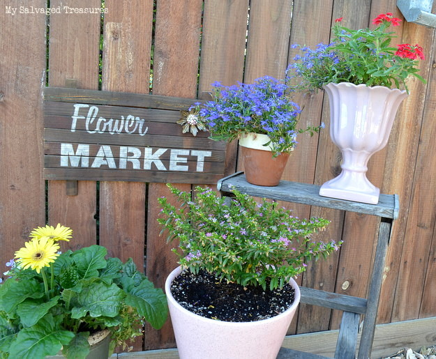 Rustic flower market sign with scrap wood, using Funky Junk's Old Sign Stencils, by My Salvaged Treasures, featured on Funky Junk Interiors