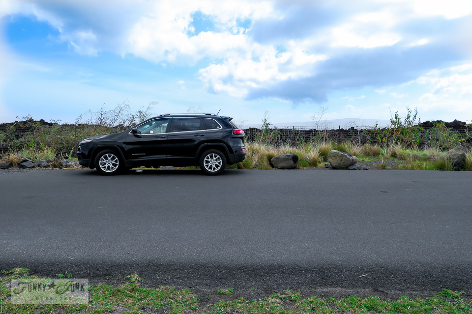 Our Jeep Cherokee rental driving through the lava fields beyond Kikei in Maui | funkyjunkinteriors