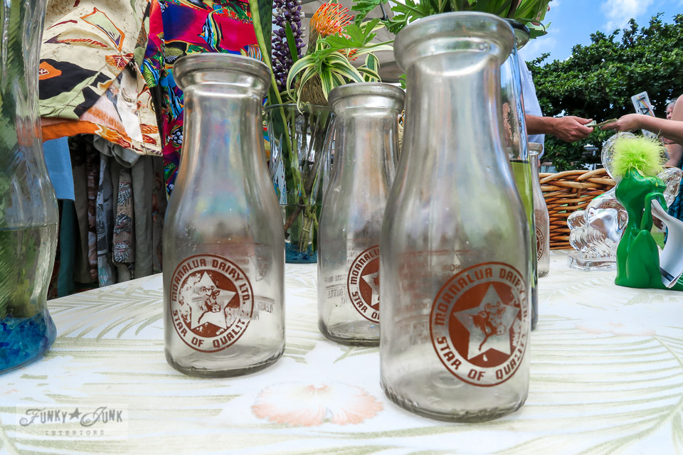 Maui Swap Meet - antique Hawaiian milk bottles | funkyjunkinteriors.net